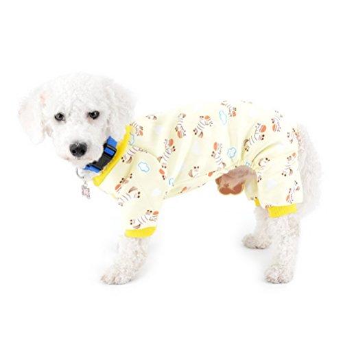 ZUNEA Disfraz de perrito de interior con forro polar, diseño de cebra, para perro pequeño, pijama de invierno, vestido de perrito yorkie salchicha, chihuahua, ropa de vestir amarillo XXL
