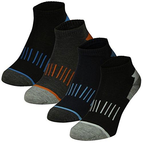 Lavazio 12 Paar Herren Sneaker Socken Freizeit Sport 4 verschiedene dunkle Farben - Qualität, Farbe:mehrfarbig, Größe:39-42
