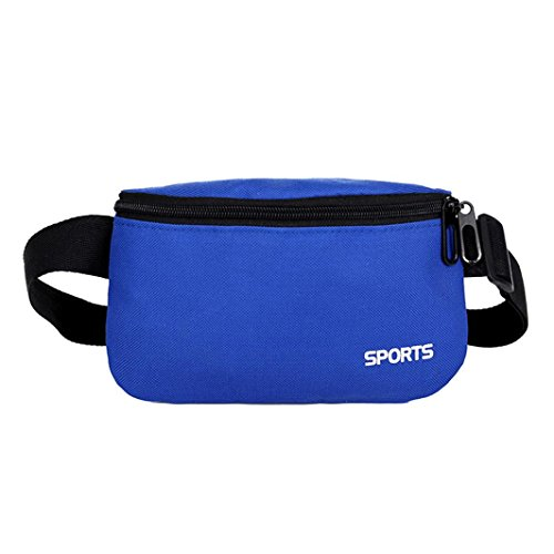 2018 Unisex Outdoor Sport Solid Oxford Cloth Waist Bag Fanny Pack Belt Bag Travel Purse Waist Bag (Blue)