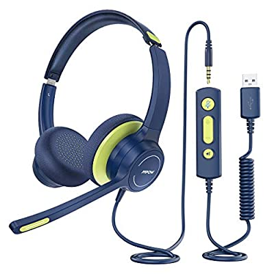 Mpow HC6 Kids Headset with Noise Reduction Microphone, 3.5mm/USB Kids Online Learning Headphone, Stereo Sound, in-line Control with Mute for Skype Phone Tablet Kindle PC School Travel Boys Girls from Mpow