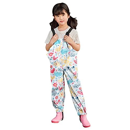 QWEE Zhuolan Regenmäntel Regenlatzhose Jungen Mädchen Regenanzug Regenjacke wasserdichte Kinder Regenbekleidung Tragbar Gefüttert Rain Pants (8-9 Years, Weiß)