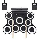 Schlagzeug Elektronische USBRoll Up E-Drum-Support Spielpraxis Drum Kit mit 9 Silikon-Pads Lautsprecher Kopfhörer Sustain Pedale Drum Sticks Family Entertainment FDWFN