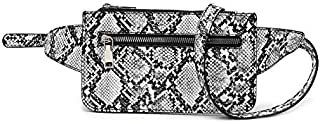 Women Snakeskin Print Belt Bag Pattern Waist Pack Purse Small PU Leather Fanny Pack for Women Shopping, Dating, Evening Out, Traveling (Black&White)