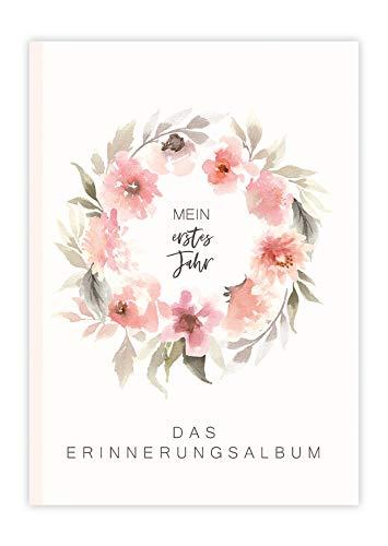 Mein erstes Jahr Erinnerungsalbum Baby 1. Lebensjahr Rosa Babyalbum Mädchen Baby Buch Erinnerung Geschenke für werdende Mütter Baby Album Erinnerungsbuch Baby Geburt