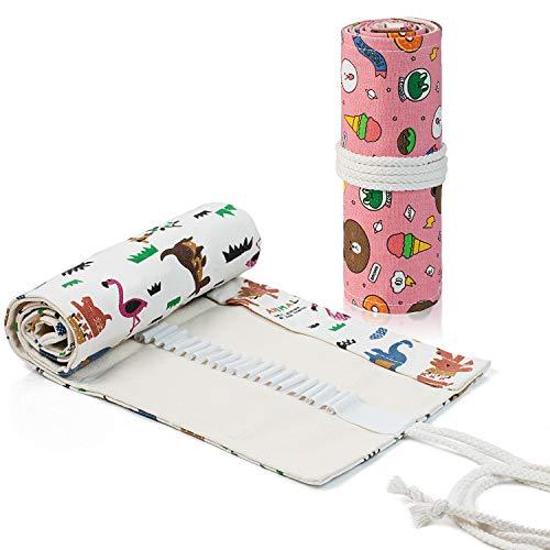 Comius Sharp 2 Piezas Lona Bolso para Lápices con 72 Agujeros, Estuche Enrollable para Lápices Portalápices de Lona Organizador para Envolver Lápices Lápiz, Escuela, Oficina (Estilo 2)