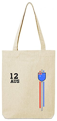 Australia Soccer World Cup Fussball WM Fanfest Gruppen Premium Bio Baumwoll Tote Bag Jutebeutel Stanley Stella Streifen Trikot Australien, Größe: onesize,Natural