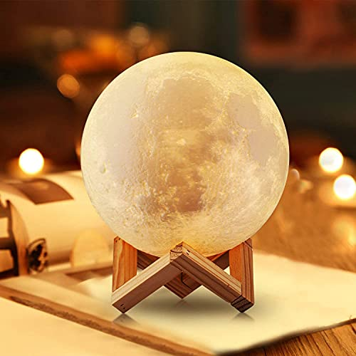 3D Printed Moon Lamp LED Night Light Luna Desk Lamp Three Colors Touch Dimming USB Rechargeable Timer Baby Lamp with Remote Control, Christmas Gifts Kid Bedroom Decor Lights 5.9Inch (15cm)
