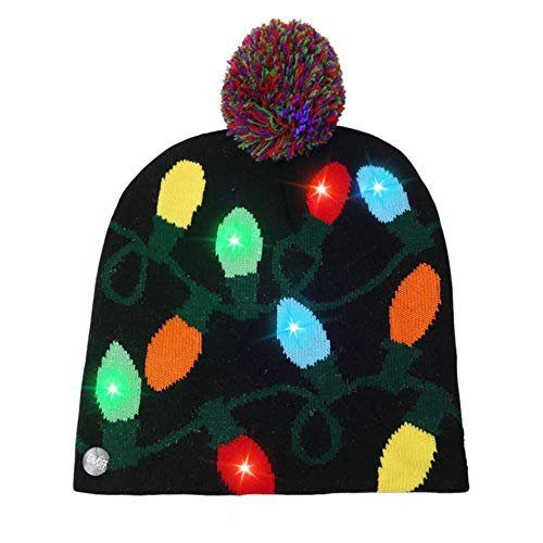 Jfs LED Light Up Christmas Hat Gorra de Punto cálida y...