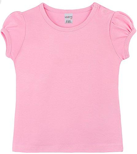 Lovetti Baby Girls' Basic Short Puff Sleeve Round Neck T-Shirt 6-9M Pink