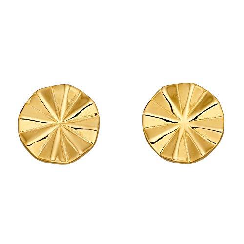 Fiorelli Silver Pendientes de baño de oro amarillo biselados con corte de diamante E5890