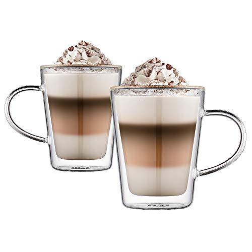 Ehugos dubbelwandige glazen bekers 350ml (12oz), hittebestendige thermische glazen koffiekop met handvat, set van 2