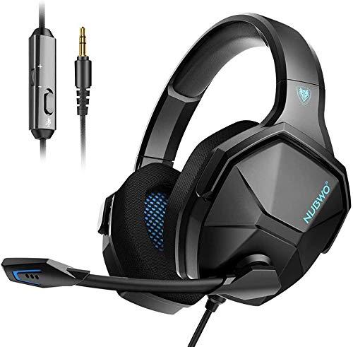 NUBWO Headset PS4 Gaming Kopfhörer 3,5mm Stereo Over-Ear-Gaming-Kopfhörer mit Inline-Steuerung Mikrofon und Geräuschunterdrückung für PS4 / PC/ Xbox 1 / Laptop / Switch