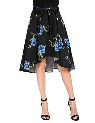 Zeagoo Women's Belted High Waist Floral Print High Low Hem Skater Midi Skirt