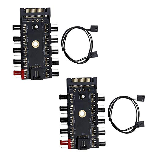 BIYM - 1 x 2 x 4 Pines, Ventilador de refrigeración, Soporte de Controlador de Velocidad de 0 vías, Conector PWM de Canal chasis de 4 Pines para PC Hub Piezas de Repuesto para Ordenador, 2