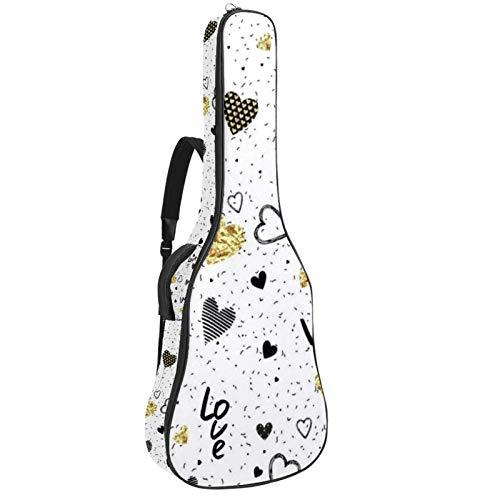 Colorful Love Gitarrentasche für Akustikgitarre, Polsterung, Schwamm, dick, Ripstop, wasserdicht, Nylon, weich, für Zuhause, Aufbewahrung, Reisen, zwei verstellbare Gurte