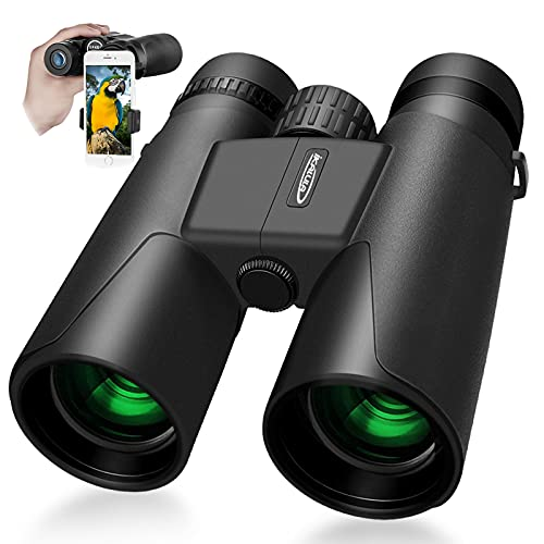 Binoculars for Adults 10x42 Binoculars with Clear Low Light Night Vision Compact Binoculars for Bird Watching Travel Stargazing Hunting Concerts with BAK4 Prism FMC Lens