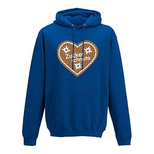 Jimmys Textilfactory Hoodie Oktoberfest Herz Zuckerschnute Wiesn München 13 Farben Herren XS - 5XL Lebkuchen Tracht Kostüm Festzelt O'zapft Dirndel, Größe: M, Farbe: Royalblau/royal Blue