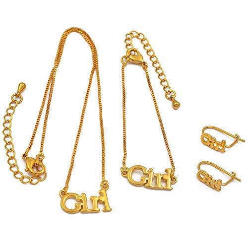 HMANE Conjunto de Joyas para niña Collar de 30 cm/Pulseras de 13 cm Pendientes para bebé Niño Joyas de Color Dorado Regalos para bebés
