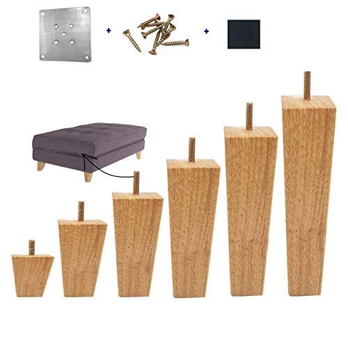 Conjunto de Patas de Muebles de Madera Maciza cuadradas de 4, Patas de Muebles de Madera Maciza con Placas de Montaje y Tornillos para sofá, sofá, Cama, Mesa de Cent Wood color-20cm