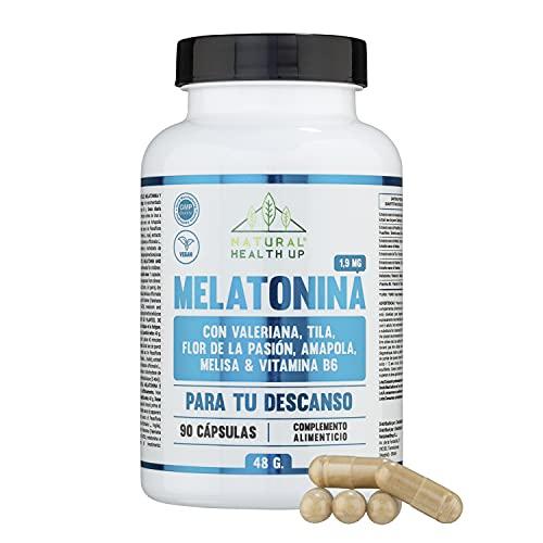 Melatonina 1,9 mg para ayudar al descanso – Melatonina con pasiflora, valeriana, tila, amapola californiana y vitamina B6 para mejorar la calidad del sueño – 90 cápsulas vegetales –100% vegano