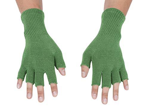 Gravity Threads Unisex Warm Half Finger Stretchy Knit Gloves, Kelly Green