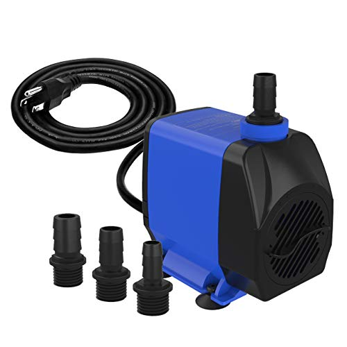 Knifel Submersible Pump 1056GPH Ultra Quiet with Dry Burning Protection 9.8ft Power Cord for Fountains, Hydroponics, Ponds, Aquariums & More………