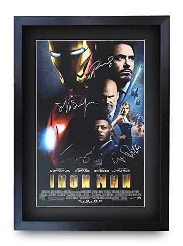 HWC Trading Iron Man A3 Incorniciato Firmato Regalo Visualizzazione delle Foto Print Immagine Autografo Stampato per Robert Downey Jr Terrence Howard Gwyneth Paltrow Jeff Bridges Fan Movie Poster