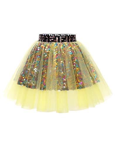 MUADRESS MuaDress Mini Tüllrock Shimmer Glam Pailletten verziert Tutu Sexy Festliche Kostüm Gelb M