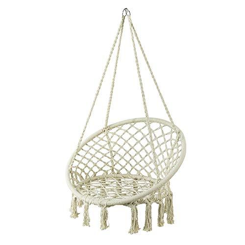 SoBuy OGS42-MI Hängesessel mit runder Sitzfläche Hängestuhl Hängesitz Hängeschaukel Nestschaukel Korbsessel Belastbarkeit 150kg beige BHT ca: 81x117x70cm