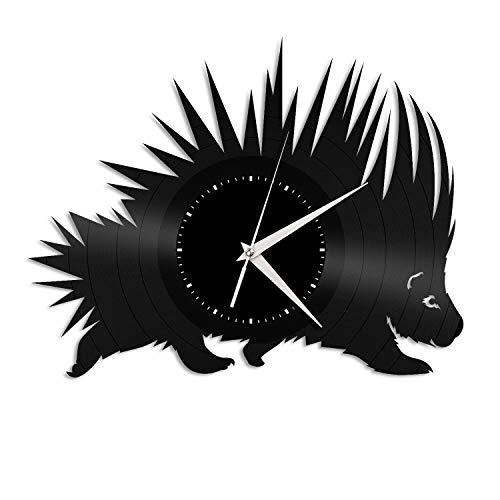 MHUI Reloj De Pared de Vinilo Regalo único para los Amantes de Animales Inicio de decoración de Interior Personalidad Diseño Barra de la Oficina del Puerco espín