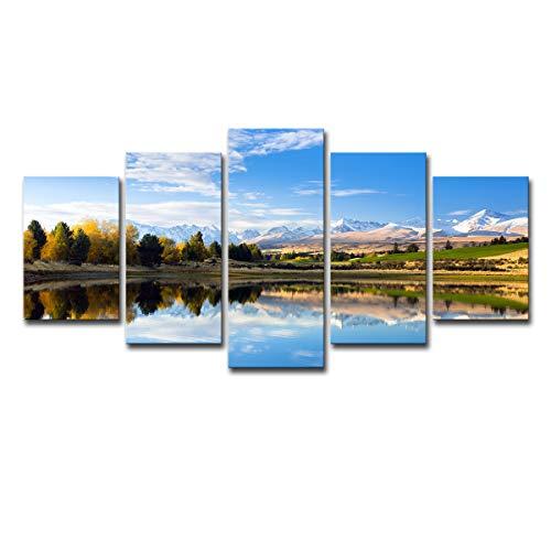 Gdlkss Cuadros Modernos Impresión de - Lago Secreto - Impresión de 5 Piezas Material Tejido no Tejido Impresión Artística Imagen Gráfica Decoracion de Pared Arte - 200x100cm