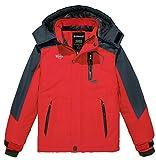 Wantdo Boy's Hooded Ski Coat Warm Fleece Snowboarding Jacket Waterproof Raincoats Red 6/7