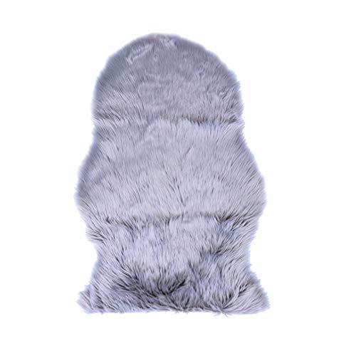 WLGQ Faux Schaffell Stuhlbezug Shaggy Area Teppich für Couch Sofa Boden Schlafzimmer (Hellgrau)