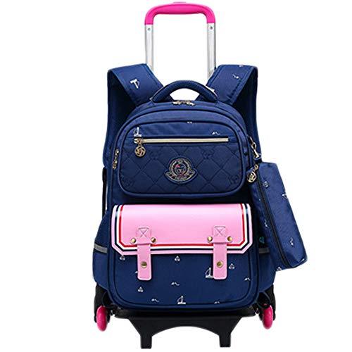 LHY EQUIPMENT Trolley Infantil con Ruedas Niña con Rueda Mochila De Viaje Al Aire Libre Escalera Desmontable De 6 Ruedas con Mochila Bolsa De Carro para La Escuela Mochila Enrollable De,Rosado