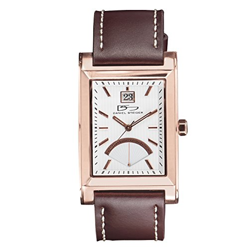 Daniel Steiger The Monticello Rose Gold Luxury Stylish Precision Leather Mans Watch - Water Resistant - Date Subdial - Precision Quartz Movement - Brown Leather Strap - Rose Gold Finish -