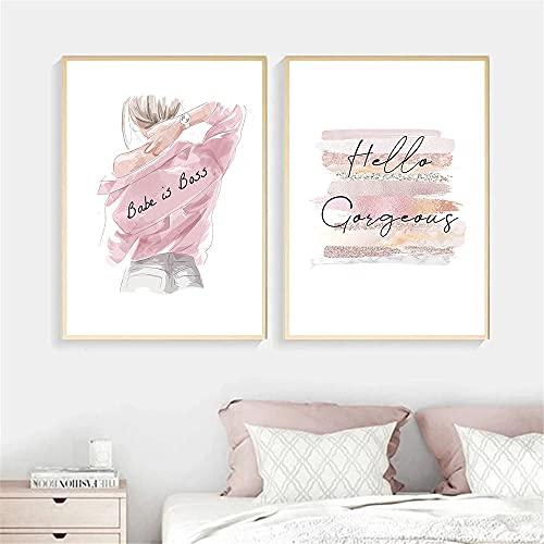 ZYQYQ Cuadros Decoración Salon Lienzo Mural Impresión de labios abstractos Belleza Mujer Póster Rosa Perfume de tacón alto Pintura Imágenes de moda de dormitorio 40x60cmx2 Sin marco