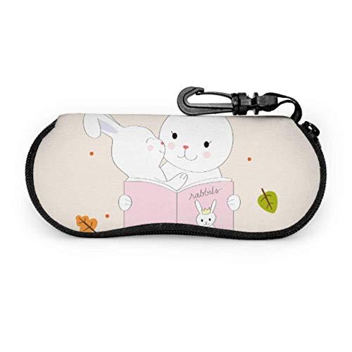 Arvolas Dibujos animados lindo mamá bebé conejos leer gafas de sol universales funda para gafas para niñas funda de gafas de sol portátil con cremallera de neopreno para niñas