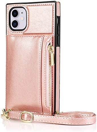 SLDiann Case for iPhone 11 6.1 inch, Zipper Wallet Case with Credit Card Holder/Crossbody Long Lanyard, Shockproof Leather TPU Case Cover for iPhone 11 6.1 inch (Color : Rosegold)