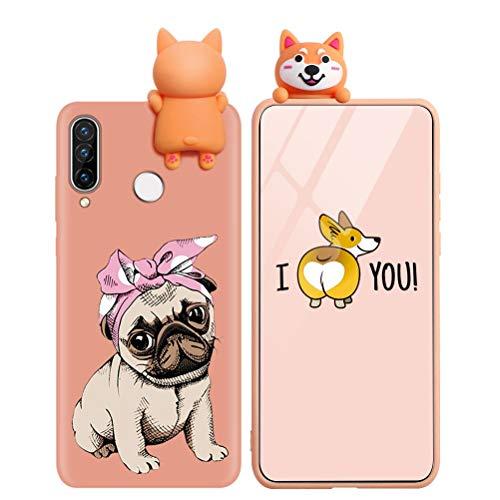 KAPUCTW Capa para Huawei P20 Lite – Capa para celular fofa 3D engraçada de silicone TPU macio P20Lite para crianças e meninos, à prova de choque, fina, laranja, inclinada, cabeça