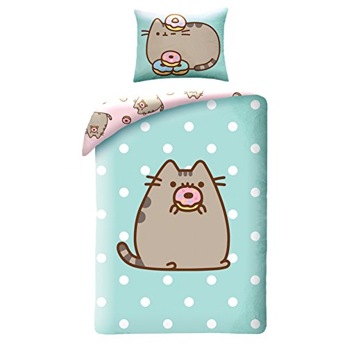 Bedding set with the character of the Pusheen kitten for bed of 140 x 200 cm, green and pink