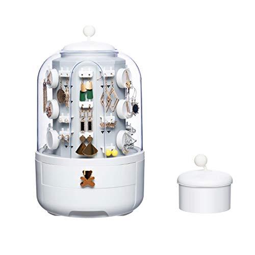TARTIERY Joyero organizador de joyas con rotación de 360°, organizador de almacenamiento para anillos, collares, pulseras y pendientes, con 39 ganchos, estuche pequeño para mujeres y niñas