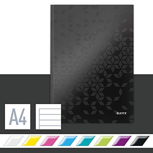 Leitz Cuaderno A4 con Tapas Rígidas, Negro, 80 hojas, a Rayas, Papel de Marfil de 90g/m², Gama WOW