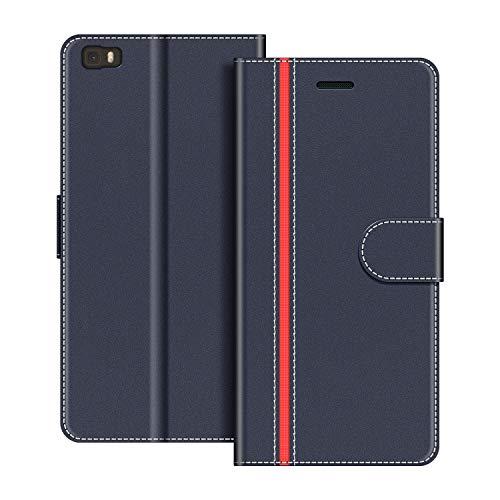 COODIO Handyhülle für Huawei P8 Lite Handy Hülle, Huawei P8 Lite 2015 Hülle Leder Handytasche für Huawei P8 Lite Klapphülle Tasche, Dunkel Blau/Rot