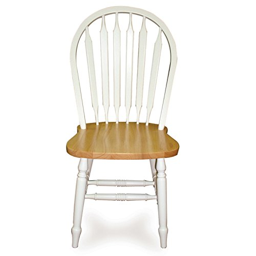 """International Concepts Windsor 38"""" High Arrowback Chair White/Natural"""