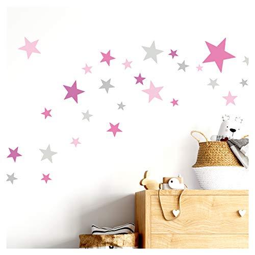 Little Deco Wandtattoo 60 Sterne Kinderzimmer Mädchen Stars I pink rosa grau I viele Farben Wandaufkleber Wandsticker Set bunt selbstklebend DL409