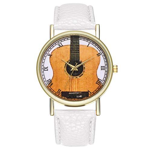 Damen Uhren Gitarre Gedruckt Casual Damenuhr Analoge Quarz Armbanduhr Leder Band Frauen Uhr Student Geschenk Yuwegr (Weiß)