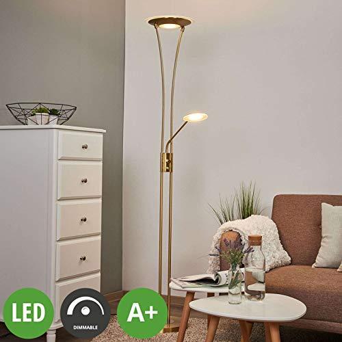 Lindby LED Stehlampe 'Eda' dimmbar (Modern) in Gold/Messing aus Metall u.a. für Wohnzimmer & Esszimmer (A+, inkl. Leuchtmittel) - Wohnzimmerlampe, Stehleuchte, Floor Lamp, Deckenfluter