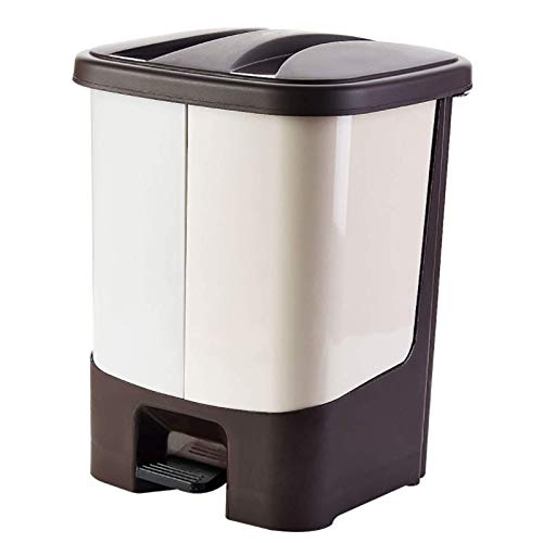 YUEZPKF Limpio e higiénico Pedal Doble Cubo de Basura, clasificación de contenedor de residuos 15l Bote de clasificación de Basura extraíble Papelera de Basura de Secado en seco para la Cocina B