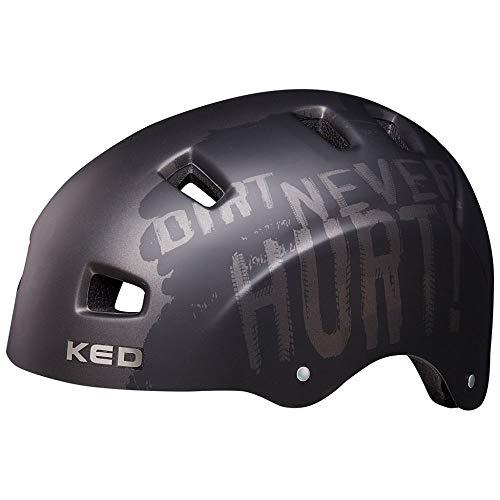 KED 5 Forty M Dirt Black - 54-58 cm - inkl. RennMaxe Sicherheitsband - Fahrradhelm Skaterhelm MTB BMX Erwachsene Jugendliche
