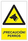 MovilCom® - Adhesivo PELIGRO CUIDADO CON EL PERRO 150x200mm homologado nueva legislación (ref.RD35643)